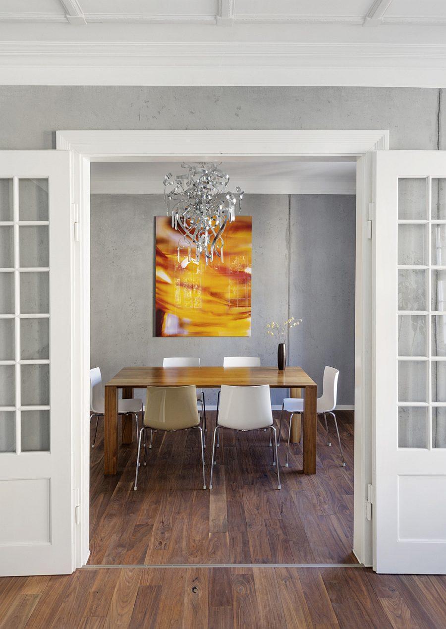 Beton Oberflächen an den Wänden im Speisezimmer
